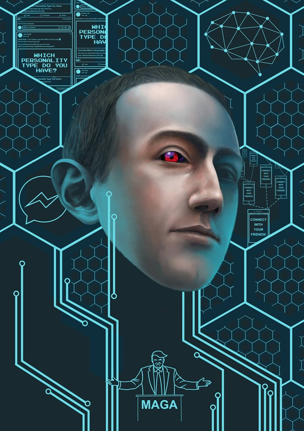 Photo-realistic digital drawing of Mark Zuckerberg with red eye over blue hexagonal grid and line drawing of Donald Trump
