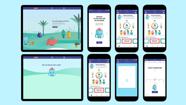 Designs for brightly coloured app on ipad and iphone screen