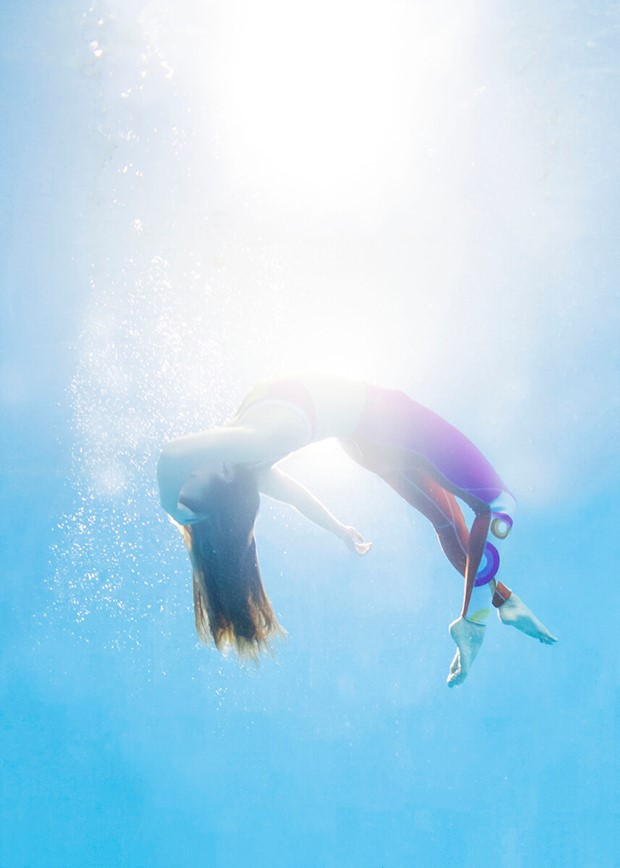 Photo of a person underwater